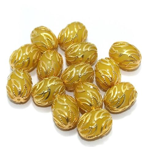 Meenakari Oval Beads 17x13mm Yellow
