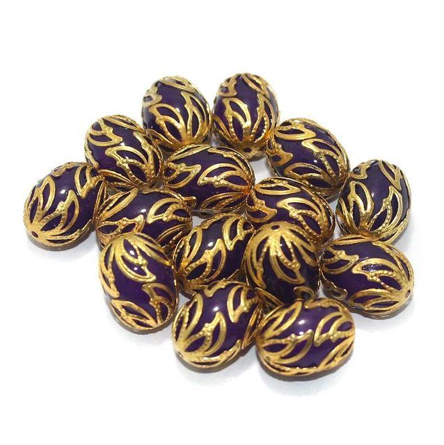 Meenakari Oval Beads 17x13mm Purple