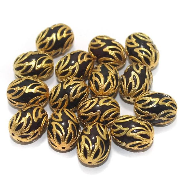 Meenakari Oval Beads 17x13mm Black