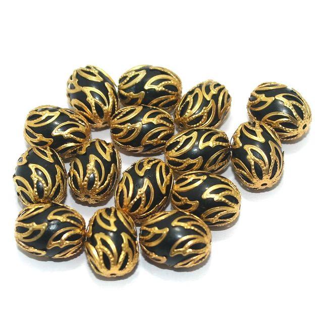 Meenakari Oval Beads 17x13mm Black