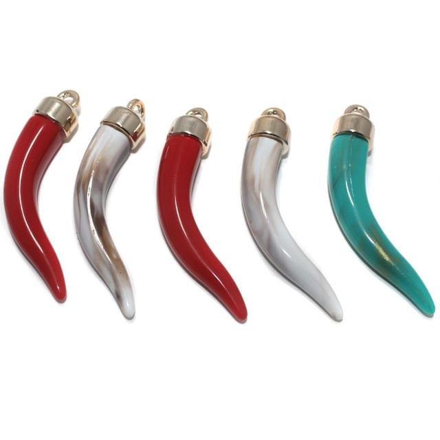 5 Pcs. Acrylic Horn Shape Pendants Assorted 60x10