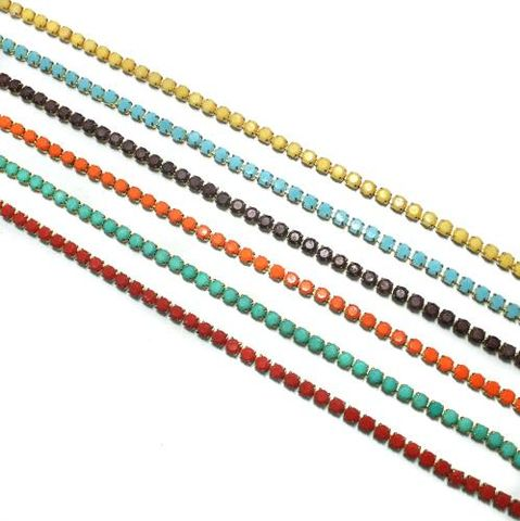 Stone Chain Opaque Combo For Jewellery Making & Crafts, 8 Colors (1 Mtr each)