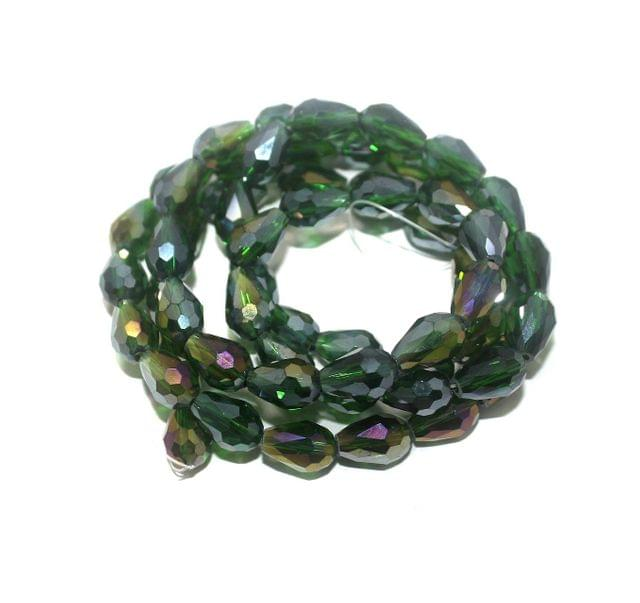 60+ Crystal Faceted Drop Beads Trans Green Rainbow 12x8 mm