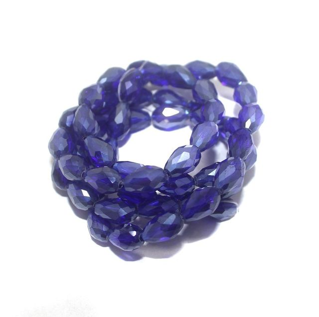 60+ Crystal Faceted Drop Beads Trans Blue Rainbow 12x8 mm