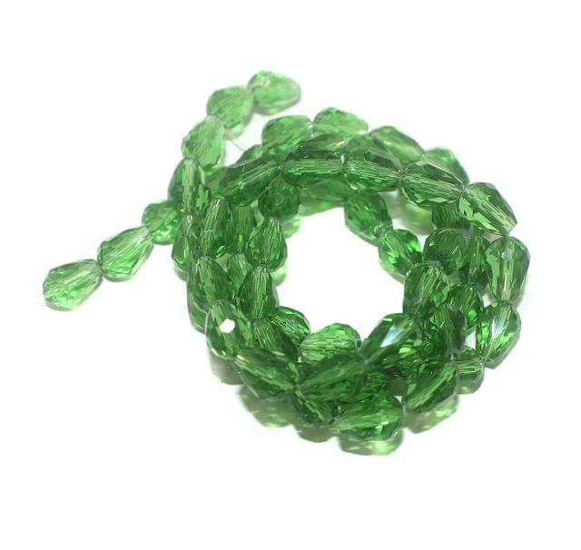 60+ Crystal Faceted Drop Beads Trans Green 12x8 mm
