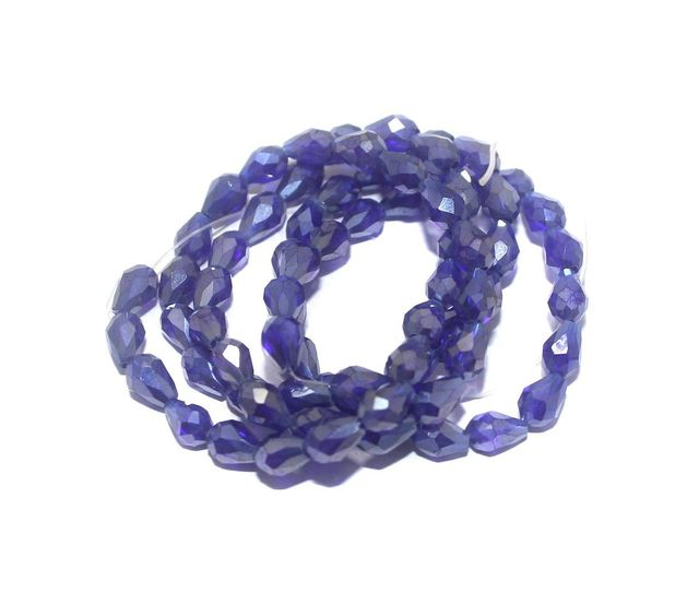 70+ Crystal Faceted Drop Beads Trans Blue Rainbow 7x5 mm