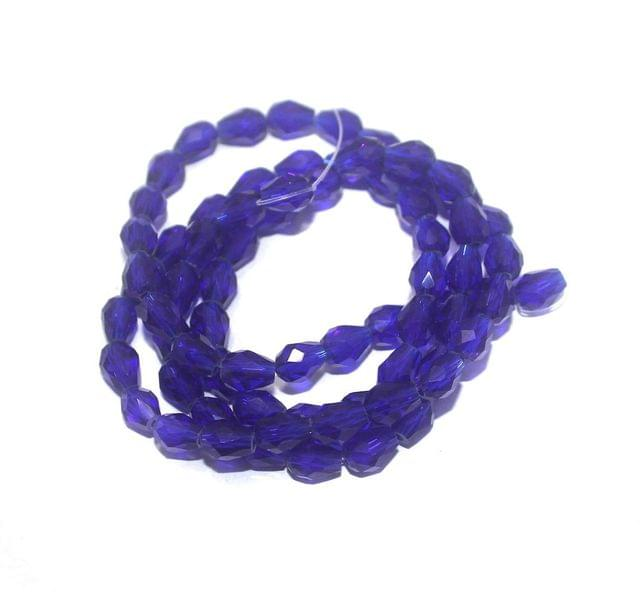 70+ Crystal Faceted Drop Beads Trans Blue 7x5 mm