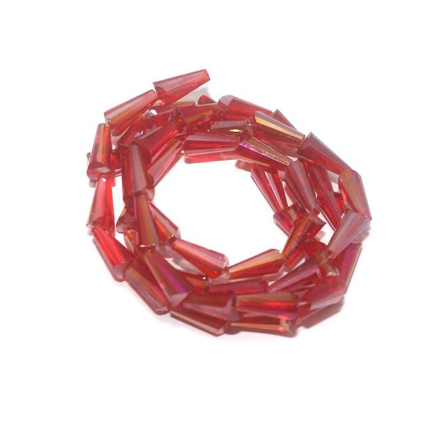 50+ Crystal Faceted Cone Beads Trans Red Rainbow 12x6 mm