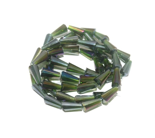 50+ Crystal Faceted Cone Beads Trans Green Rainbow 12x6 mm