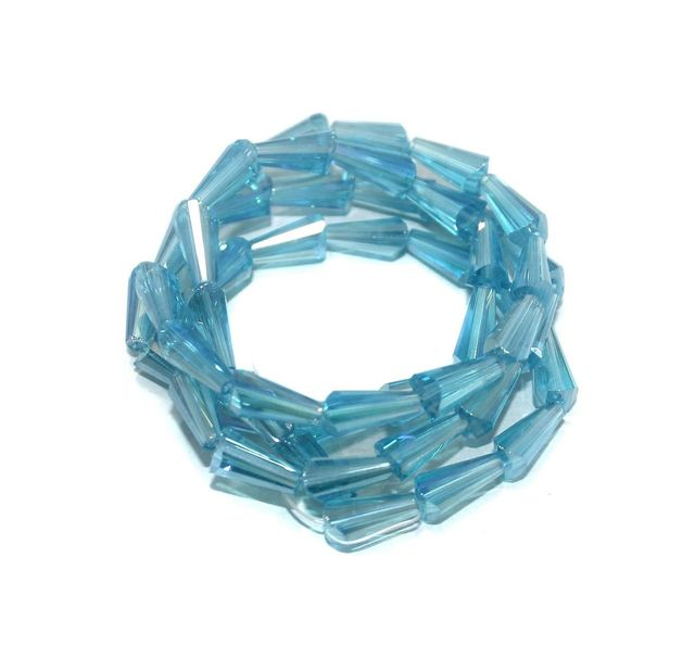 50+ Crystal Faceted Cone Beads Trans Turquoise Rainbow 12x6 mm