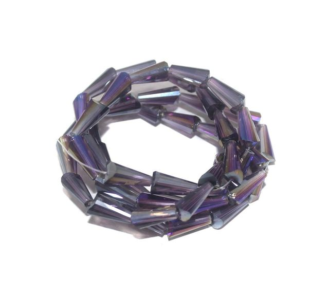 50+ Crystal Faceted Cone Beads Trans Purple Rainbow 12x6 mm