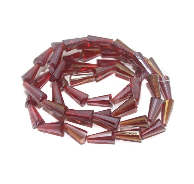 50+ Crystal Faceted Cone Beads Trans Dark Red Rainbow 12x6 mm