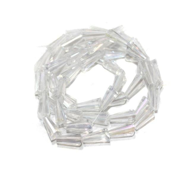 50+ Crystal Faceted Cone Beads Trans White Rainbow 12x6 mm