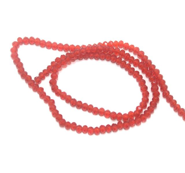 140+ Crystal Faceted Rondelle Beads Trans Red 3 mm