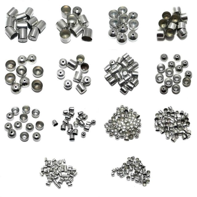 Beadsnfashion Jewellery Making Metal End Caps Silver Combo Pack Of 14 Sizes