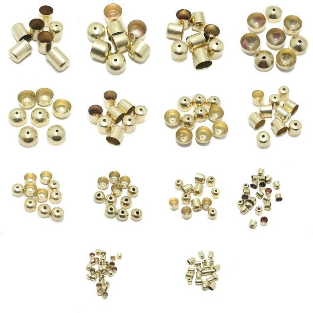 Beadsnfashion Jewellery Making Metal End Caps Golden Combo Pack Of 14 Sizes