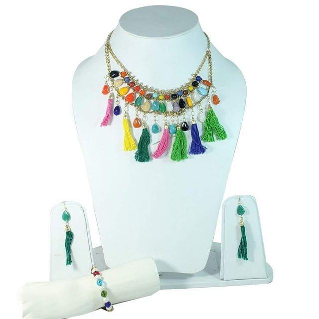Beadsnfashion Nacklace, Bracelet & Earring Combo Set`