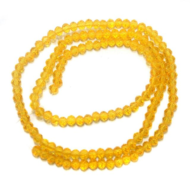 140+ Crystal Faceted Rondelle Beads Trans Yellow 4 mm