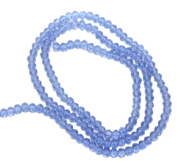 140+ Crystal Faceted Rondelle Beads Trans Blue 4 mm