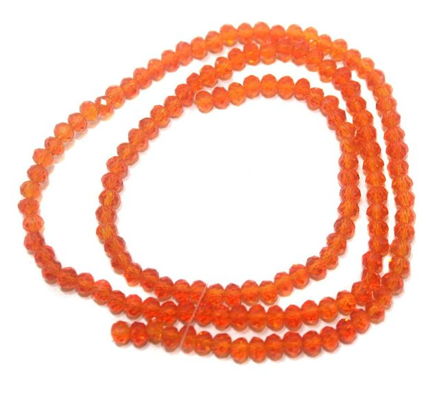140+ Crystal Faceted Rondelle Beads Trans Orange 4 mm