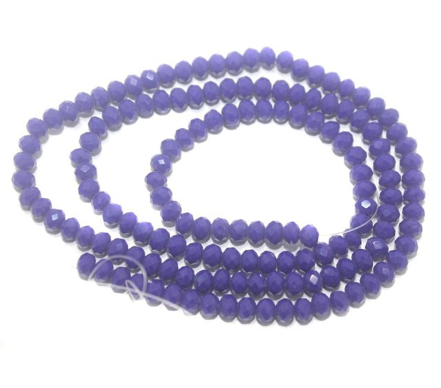 140+ Crystal Faceted Rondelle Beads Opaque Blue 4 mm