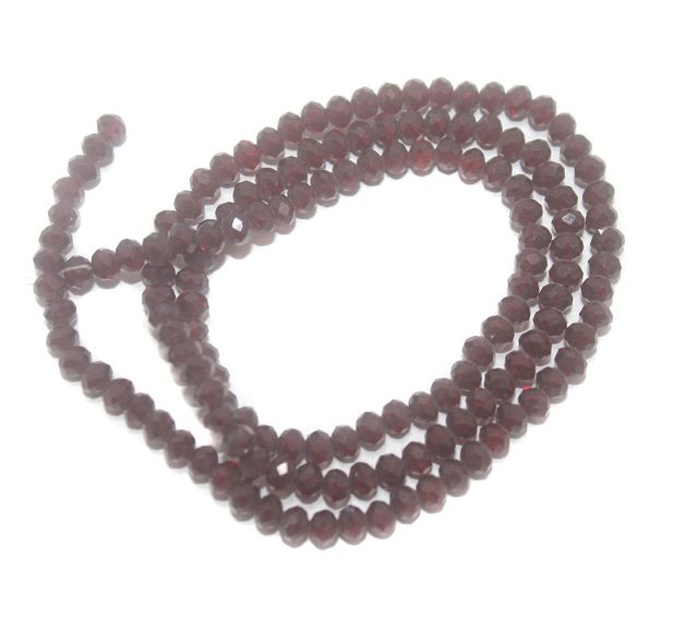 140+ Crystal Faceted Rondelle Beads Trans Maroon 4 mm