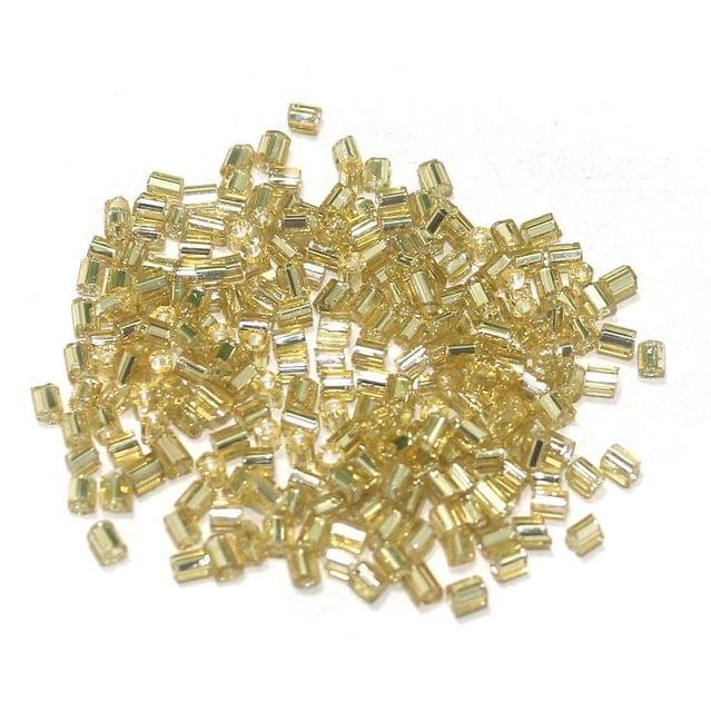 2 Cut Glass Seed Beads Silver Line Golden (100 Gm), Size 11/0 (2 )