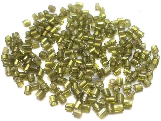 100 Gm 2 Cut Glass Seed Beads Silver Line Olive Green, Size 11/0