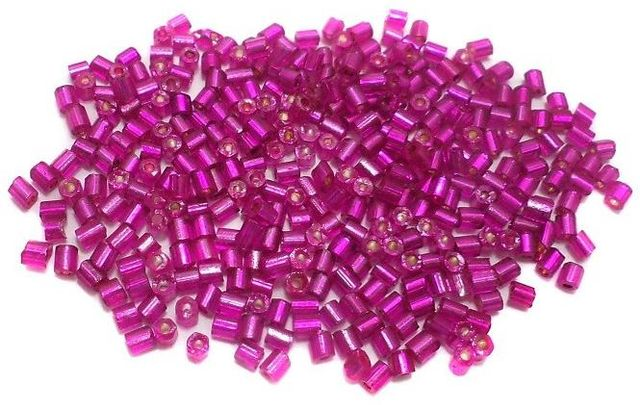 100 Gm 2 Cut Glass Seed Beads Silver Line Hot Pink, Size 11/0