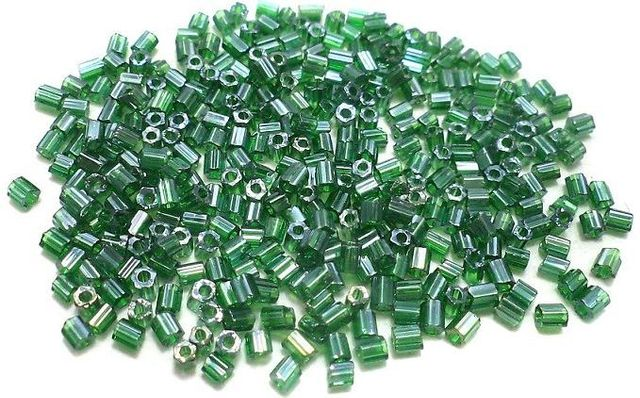 2 Cut Glass Seed Beads Green Luster (100 Gm), Size 11/0 (2 )