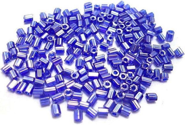 2 Cut Glass Seed Beads Metallic Blue (100 Gm), Size 11/0 (2 )