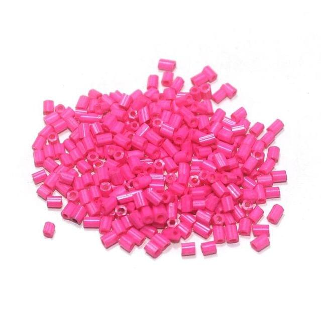 2 Cut Glass Seed Beads Opaque Neon Hot Pink (100 Gm), Size 11/0