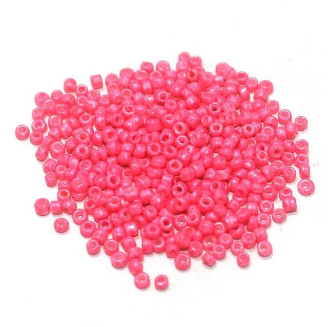Glass Seed Beads Opaque Hot Pink (100 Gm), Size 11/0 (2 )