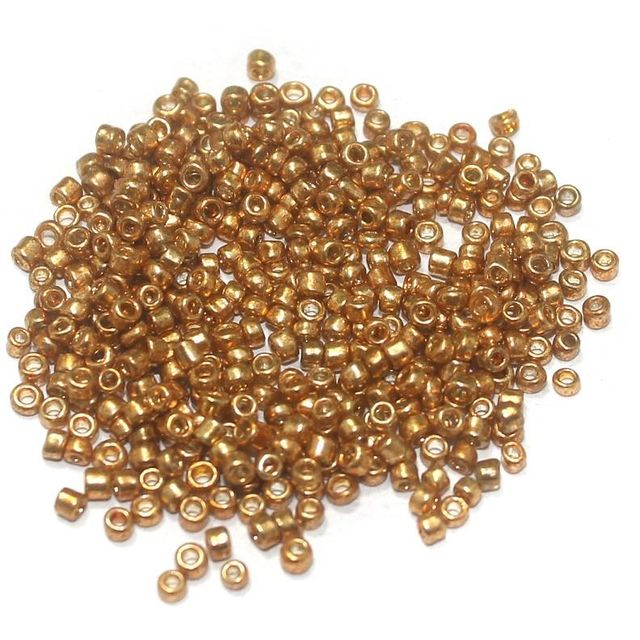 Glass Seed Beads Metallic Rose Gold (100 Gm), Size 11/0