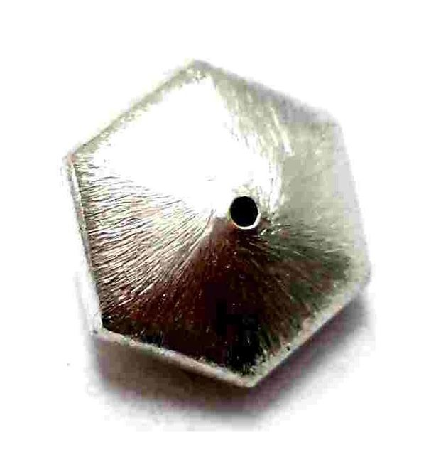 12 German Silver Hexa Brushed Beads 18x10mm