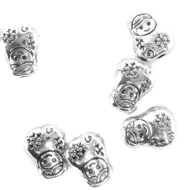 50 German Silver Beads Doll 10x8mm