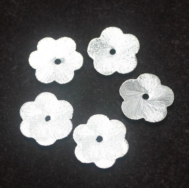 100 German Silver Disc Brushed Beads Flower 12mm