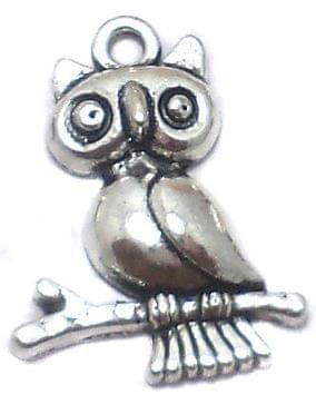 10 Pcs. German Silver Owl Charms 24x18mm