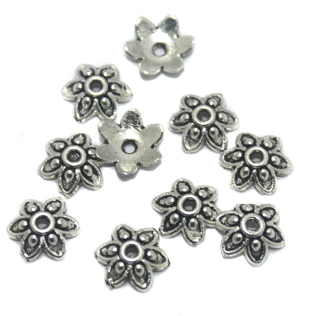 100 Pcs German Silver Bead Caps 9x2mm
