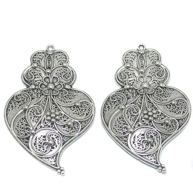 2 Pcs German Silver Pendant 59x38mm