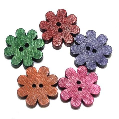 50 Wooden Buttons Daisy Flower Assorted 18mm