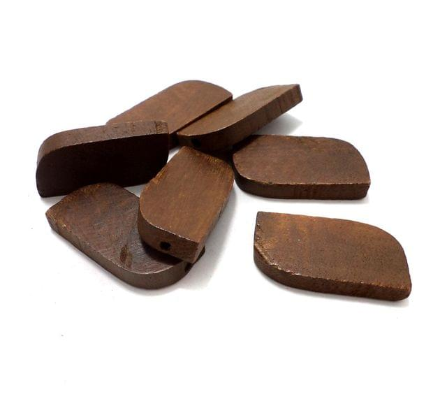 50 Pcs. Wooden Flat Curve Beads Chocolate 32x16 mm