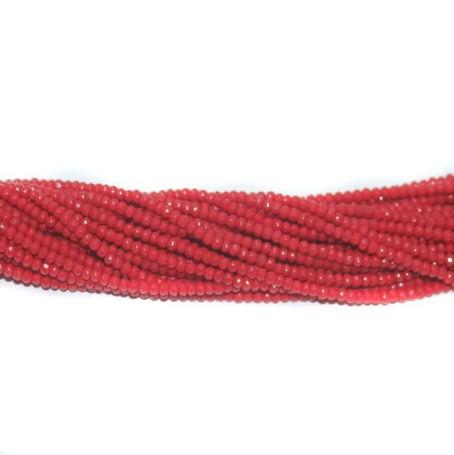 140+ Crystal Faceted Rondelle Beads Opaque Red 2 mm