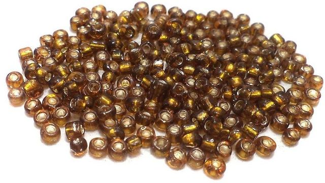 100 Gm Glass Seed Beads Silver Line Topaz, Size 11/0
