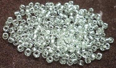 Glass Seed Beads Silver Line White (100 Gm), Size 11/0 (2 )