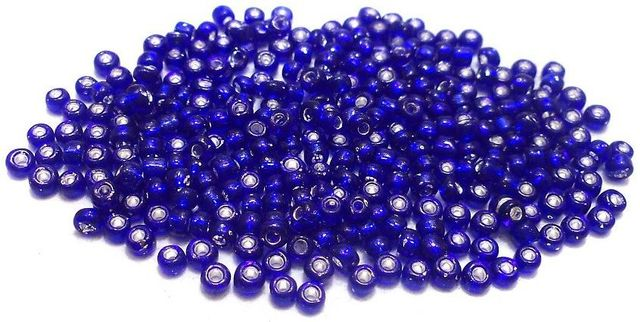 Glass Seed Beads Silver Line Blue (100 Gm), Size 11/0 (2 )