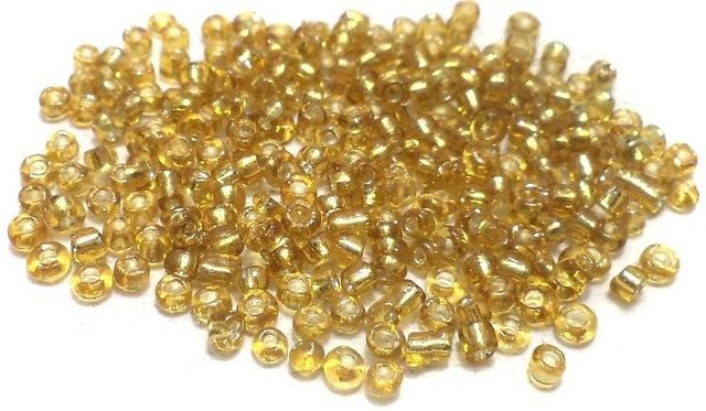 Glass Seed Beads Silver Line Golden (100 Gm), Size 11/0 (2 )