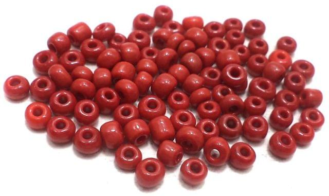 Glass Seed Beads Opaque Red (100 Gm), Size 6/0 (4 )