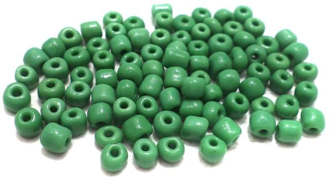 Glass Seed Beads Opaque Green (100 Gm), Size 6/0 (4 )