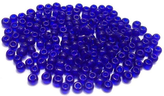 Glass Seed Beads Trans Blue (100 Gm), Size 8/0 (3 )